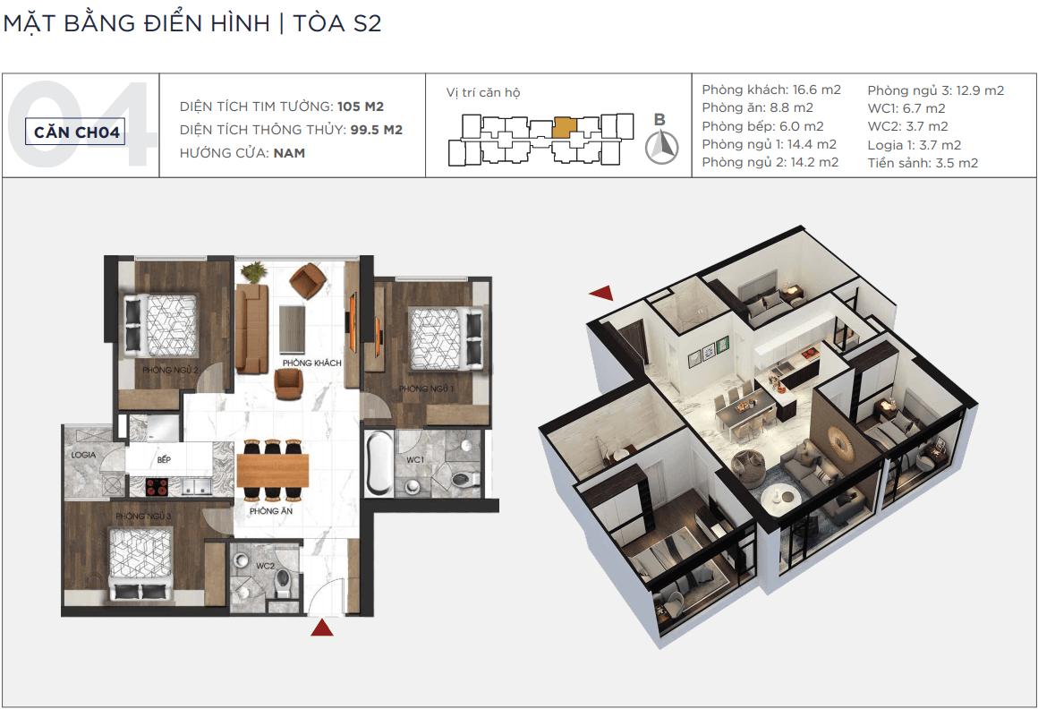 Thiết kế căn hộ 04 chung cư Sunshine City Ciputra