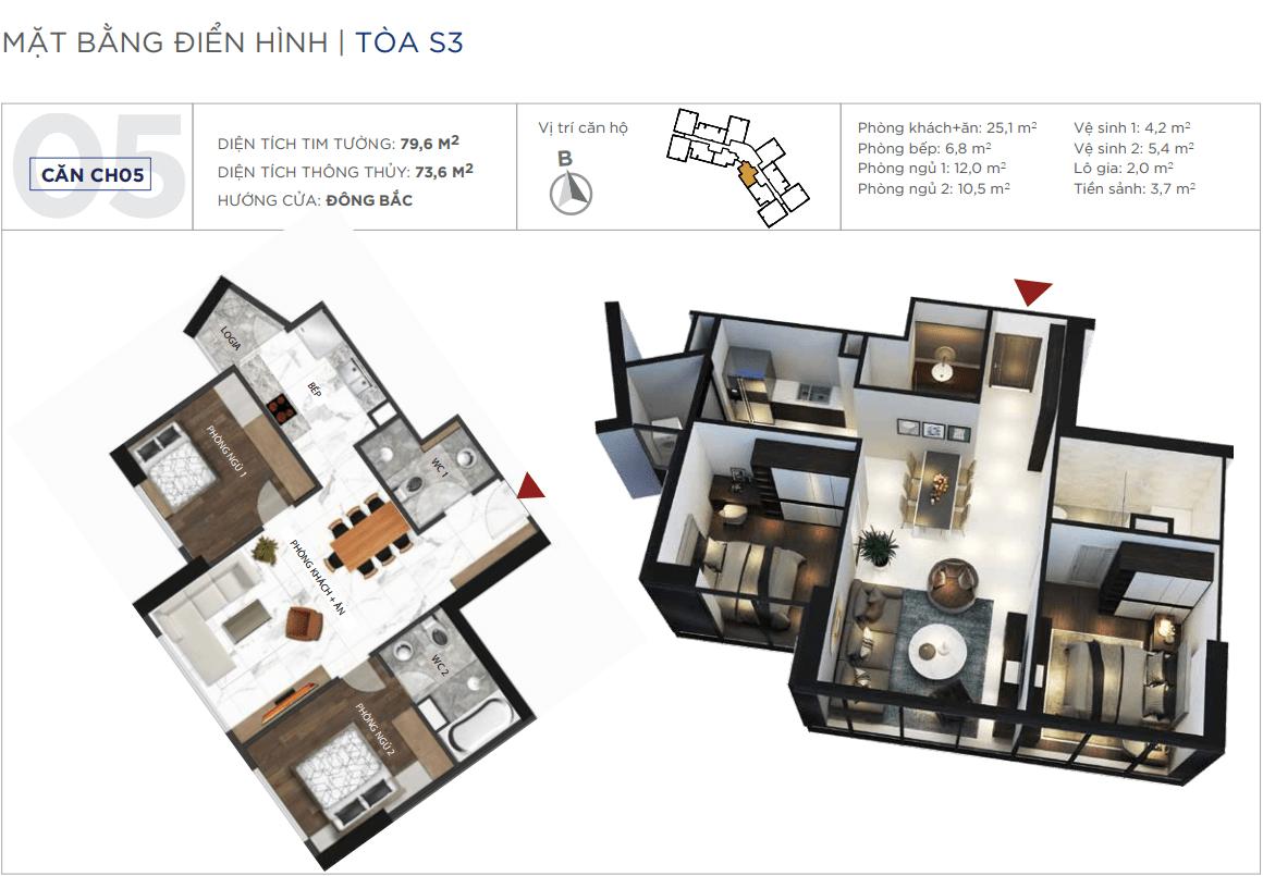 Thiết kế căn hộ 05 chung cư Sunshine City Ciputra