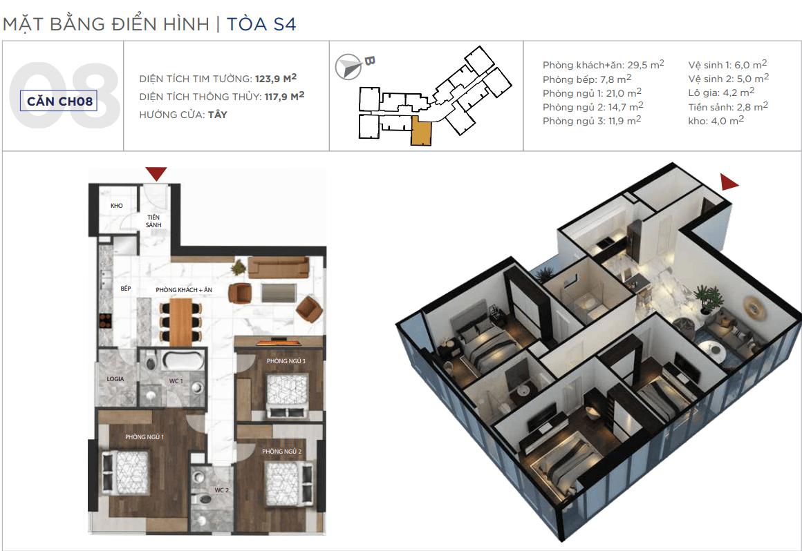 Thiết kế căn hộ 08 chung cư Sunshine City Ciputra