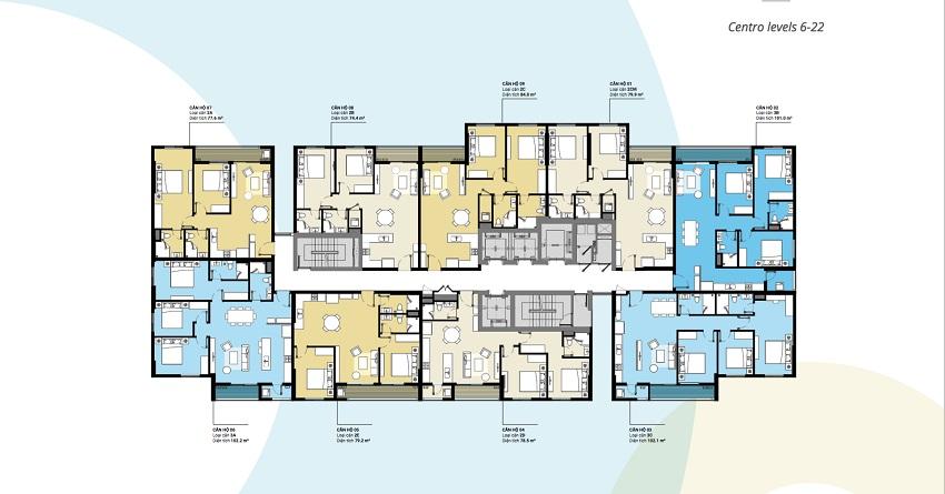 Mặt bằng tòa Centro tầng 6 - 20 chung cư Kosmo Tây Hồ