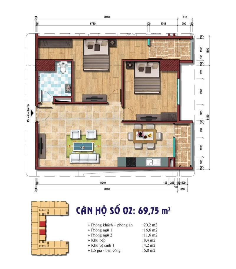 Thiết kế căn hộ số 02: 69,75m2 Chung cư Đại Kim Building
