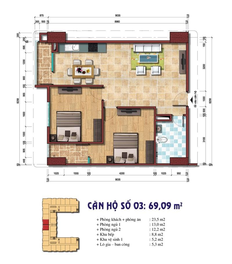 Thiết kế căn hộ số 03: 69.09 m2 Chung cư Đại Kim Building