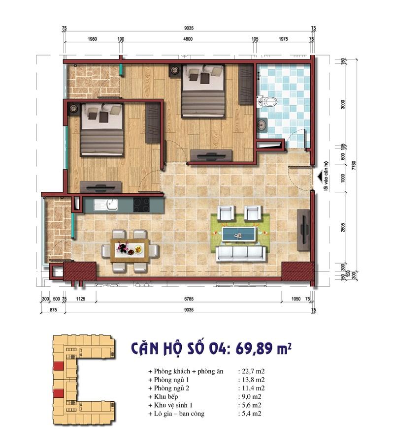 Thiết kế căn hộ số 04: 69.89 m2 Chung cư Đại Kim Building