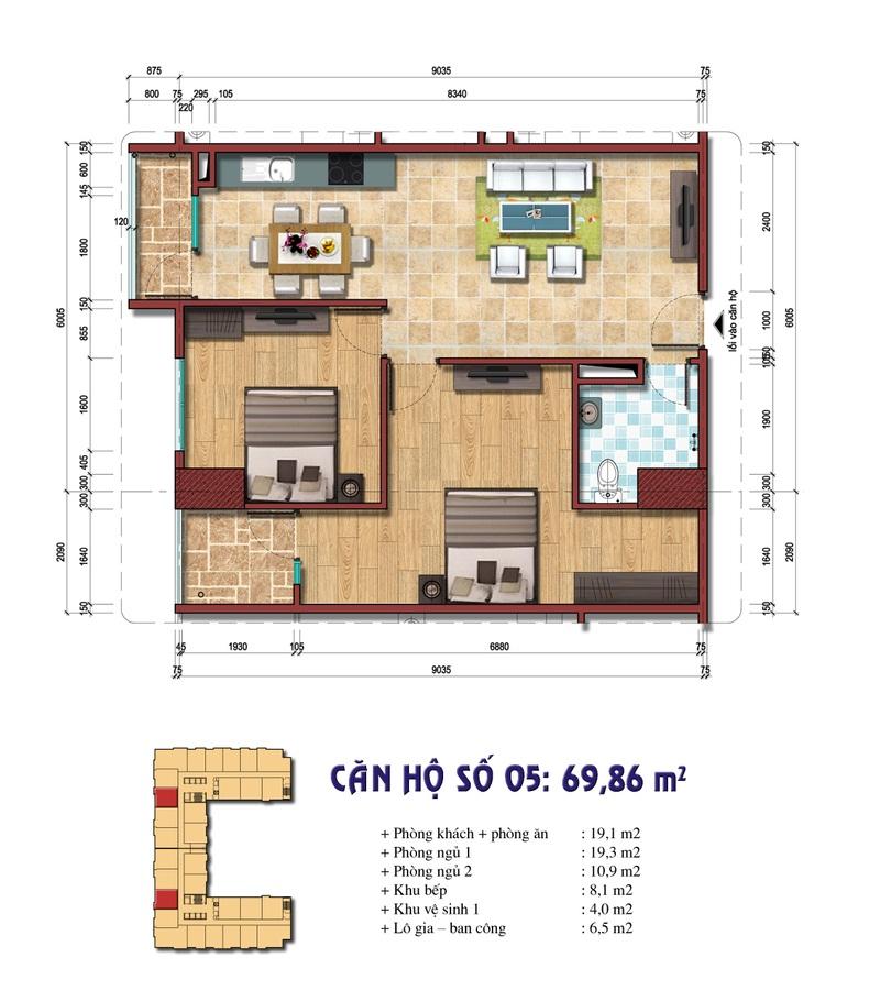 Thiết kế căn hộ số 05: 69.86 m2 Chung cư Đại Kim Building