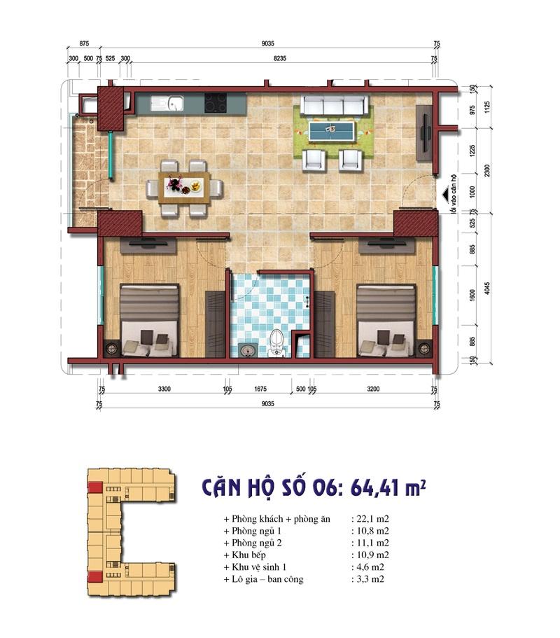 Thiết kế căn hộ số 06: 64.41 m2 Chung cư Đại Kim Building