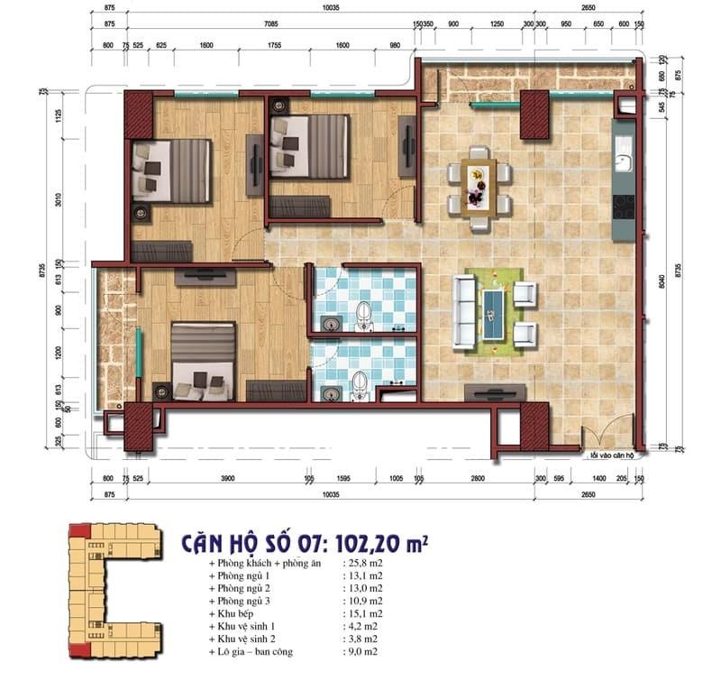 Thiết kế căn hộ số 07: 102,20m2 Chung cư Đại Kim Building