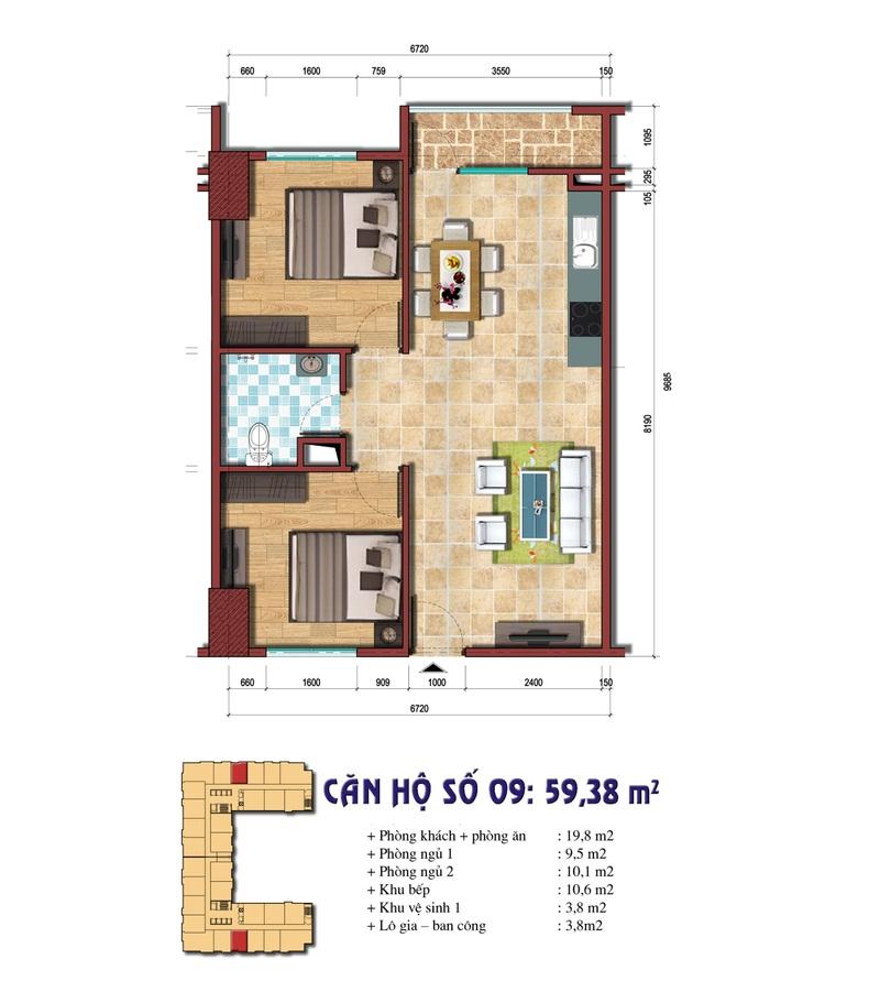 Thiết kế căn hộ số 09: 59.38 m2