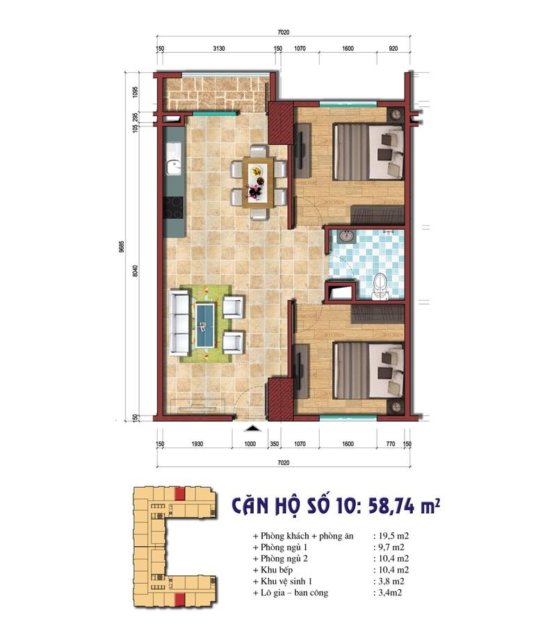 Thiết kế căn hộ 10: 58.74 m2