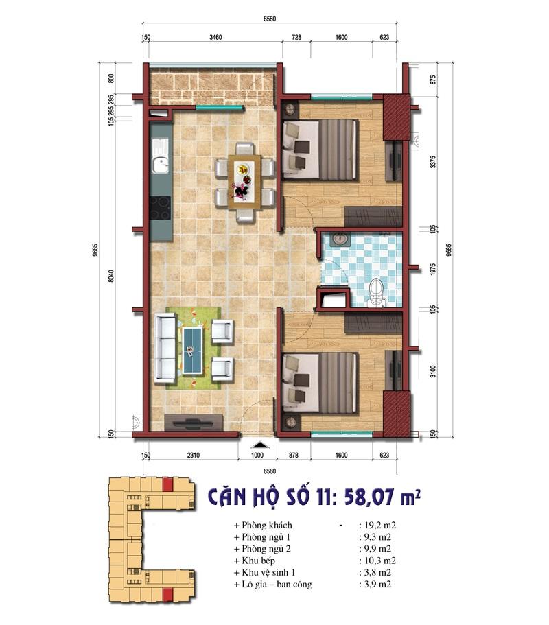 Thiết kế căn hộ số 11: 58.07 m2