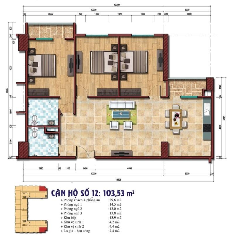 Thiết kế căn hộ số 12: 103.53 m2