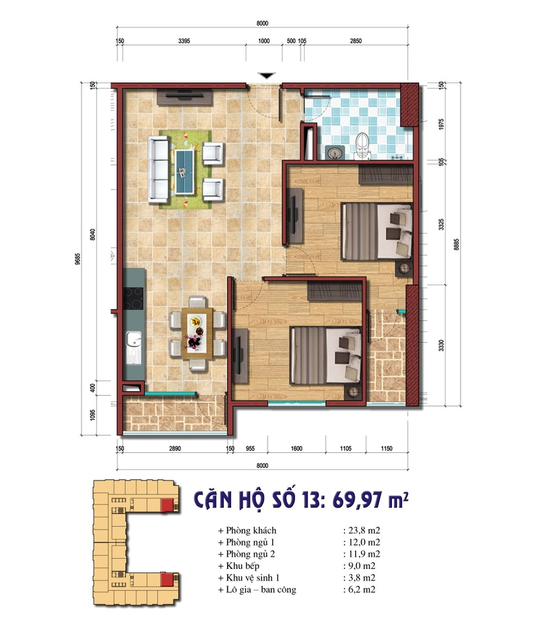 hiết kế căn hộ số 13: 69.97 m2