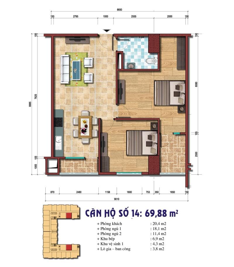 Thiết kế căn hộ số 14: 69.88 m2
