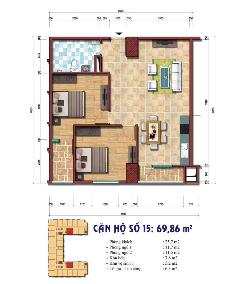 Thiết kế căn hộ số 15: 69.86 m2