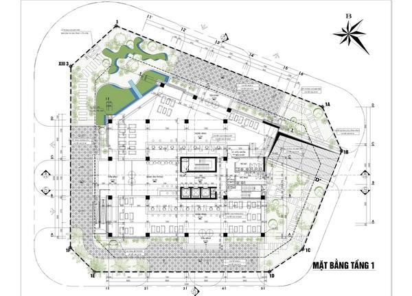 Mặt bằng tầng 1 chung cư Hà Đô Parkside