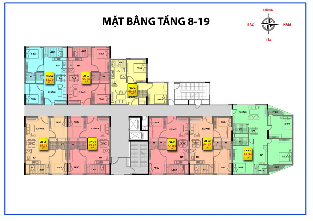 Mặt bằng điển hình tầng 8-19