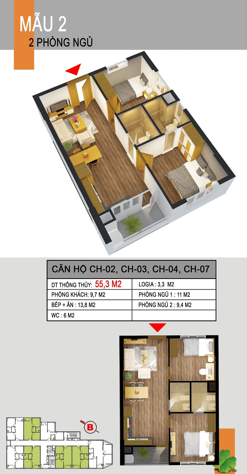 Thiết kế căn hộ CH-02,CH-03,CH-04,CH-07 536a minh khai