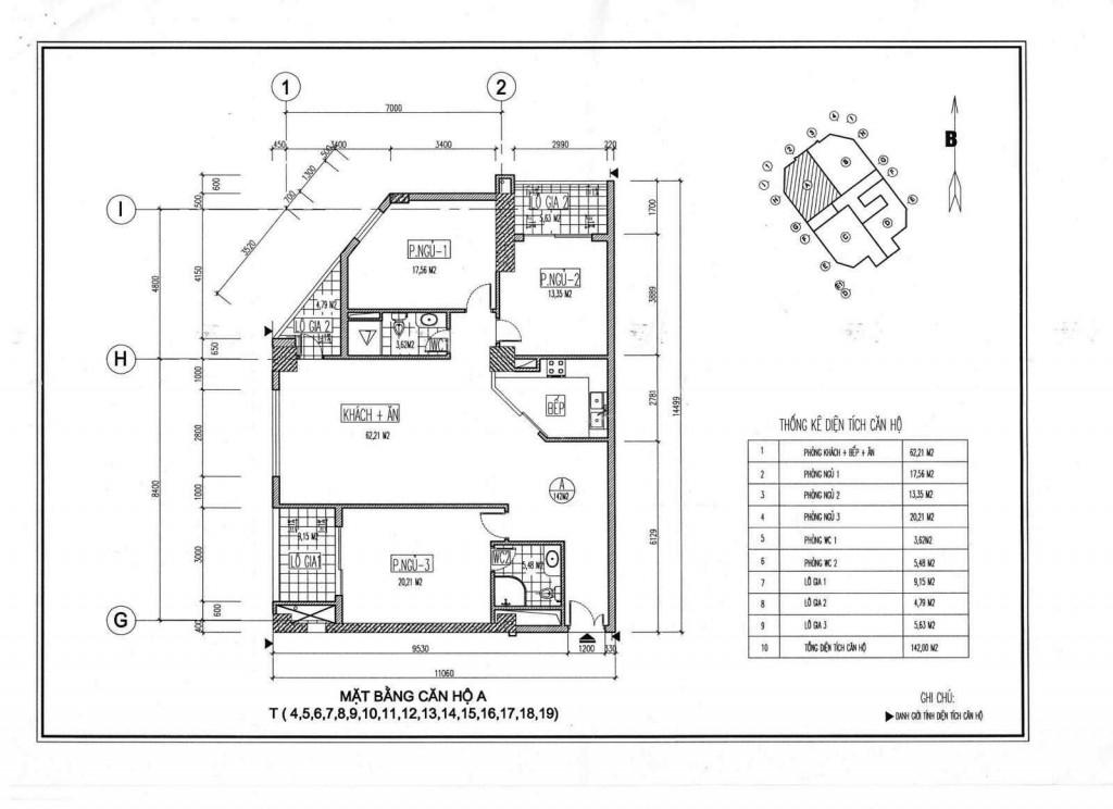 Mặt bằng thiết kế căn hộ A chung cư Viwaseen Tố Hữu