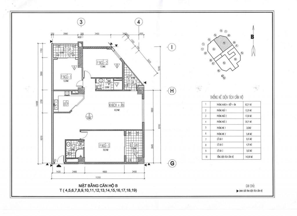 Mặt bằng thiết kế căn hộ B chung cư Viwaseen Tố Hữu