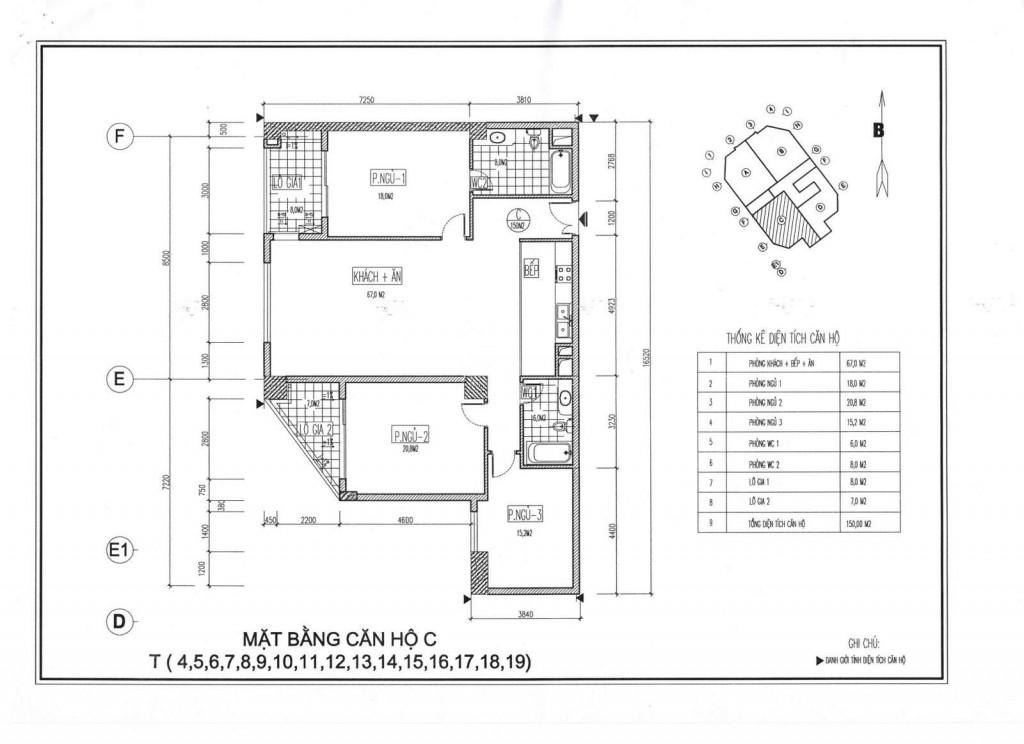 Mặt bằng thiết kế căn hộ C chung cư Viwaseen Tố Hữu