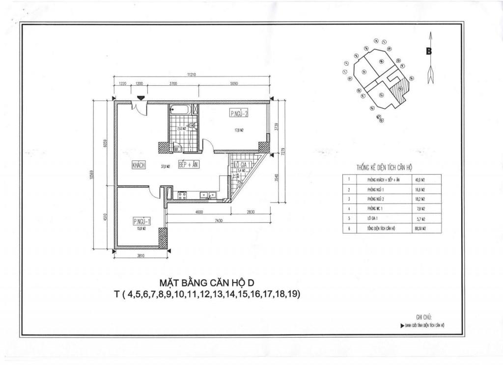 Mặt bằng thiết kế căn hộ D chung cư Viwaseen Tố Hữu