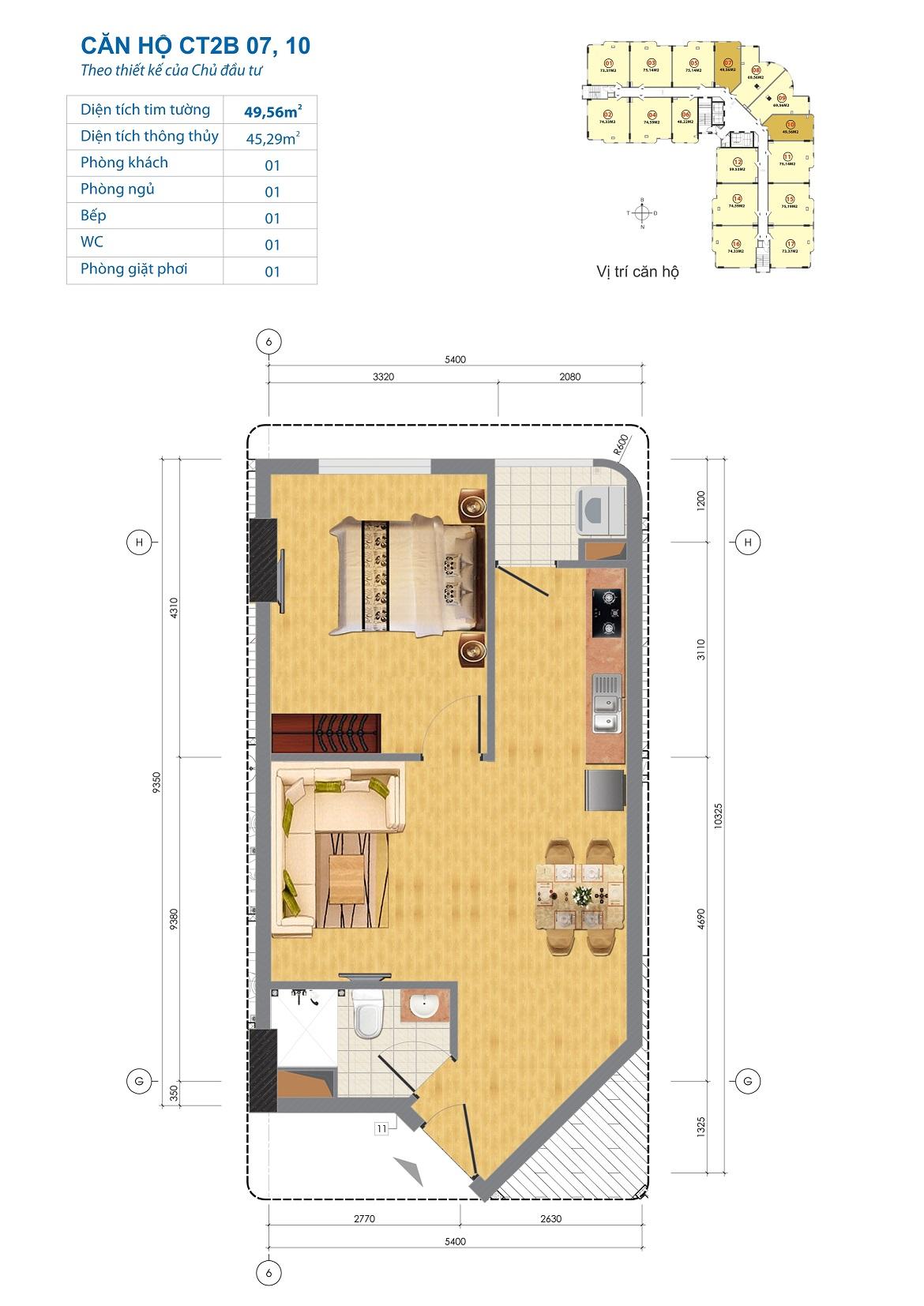 Thiết kế căn hộ CT2B 07, 10 Chung cư CT2B Ngĩa Đô