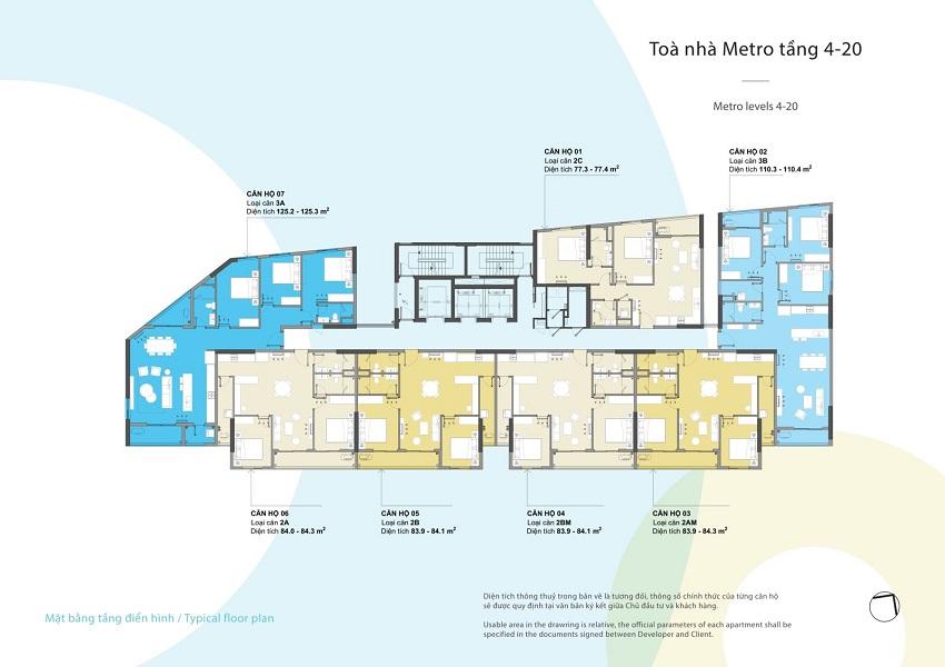 Mặt bằng tòa Metro tầng 4 - 20 chung cư Kosmo Tây Hồ