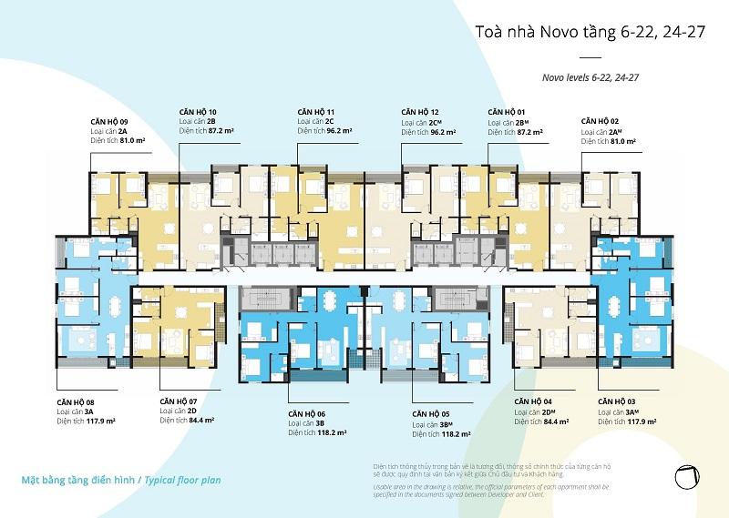 Mặt bằng tòa Novo tầng 6 - 22; 24 - 27 chung cư Kosmo Tây Hồ