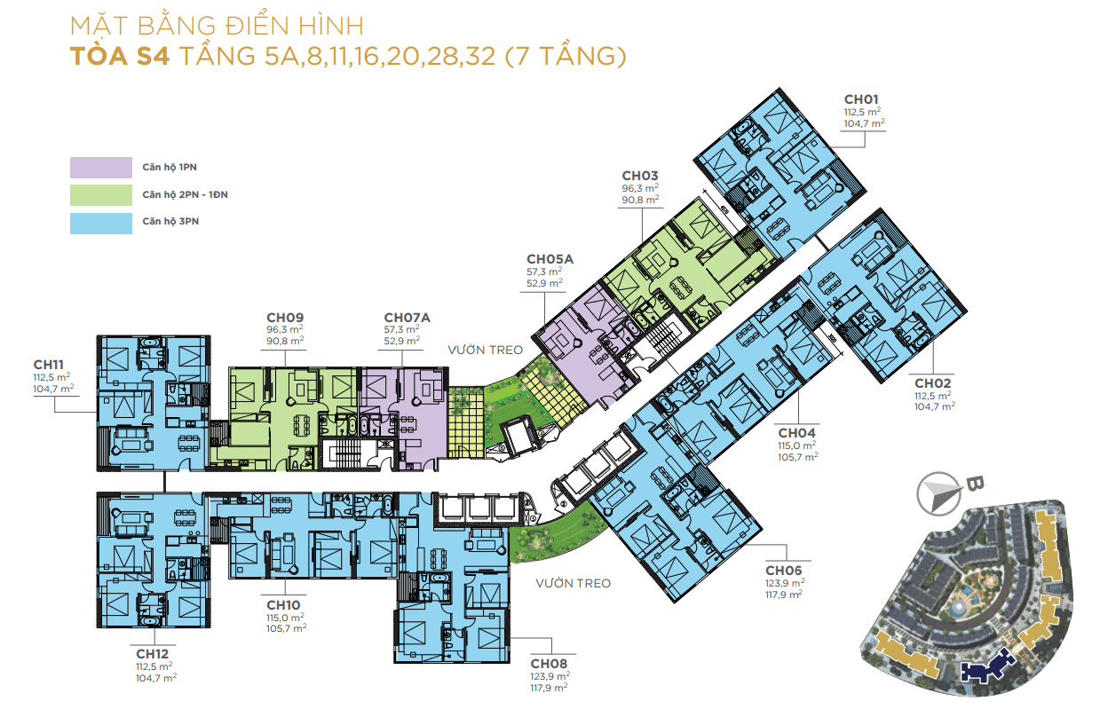 Mặt bằng điển hình Tòa S4 chung cư sunshine city ciputra