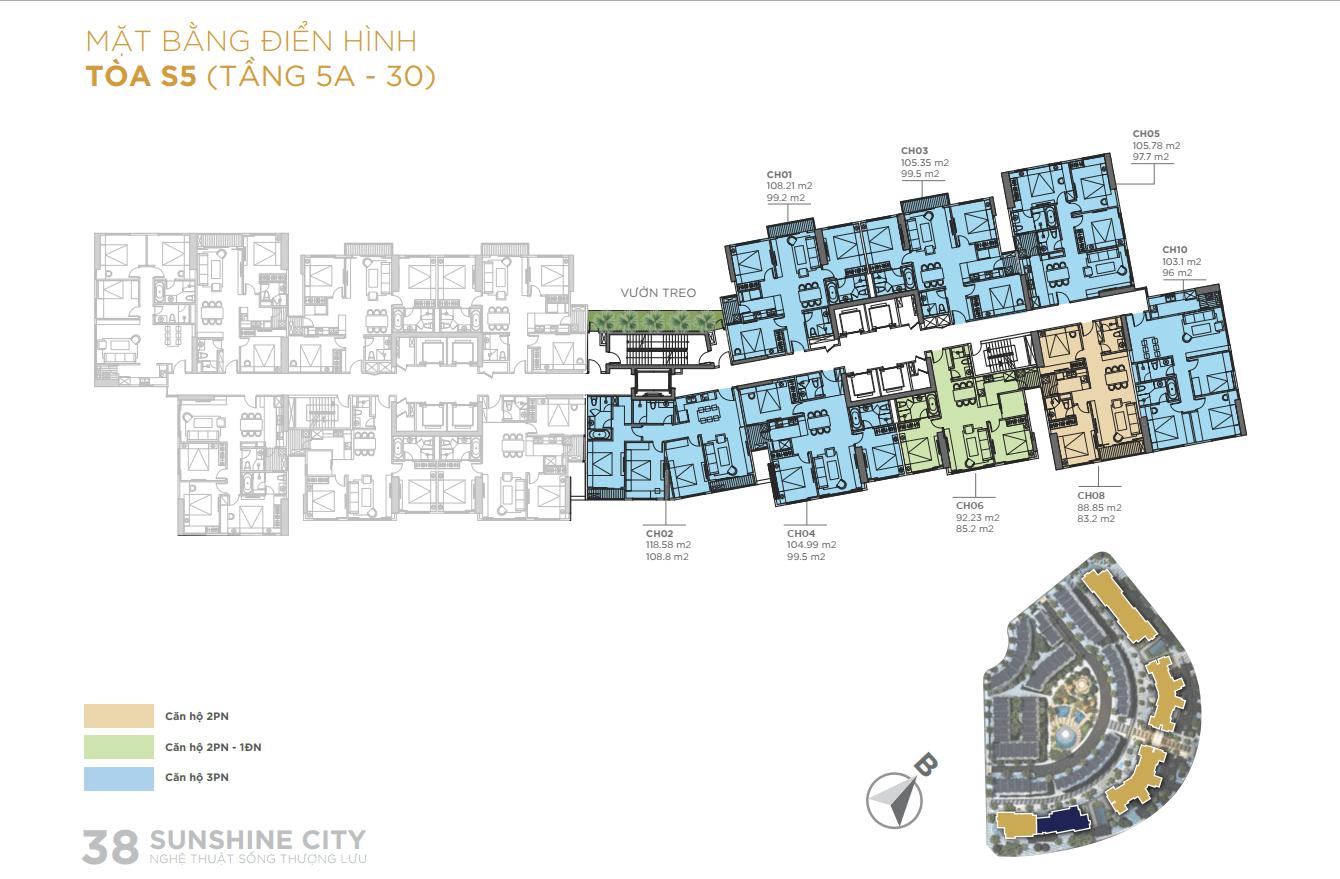 Mặt bằng điển hình Tòa S5 chung cư sunshine city ciputra