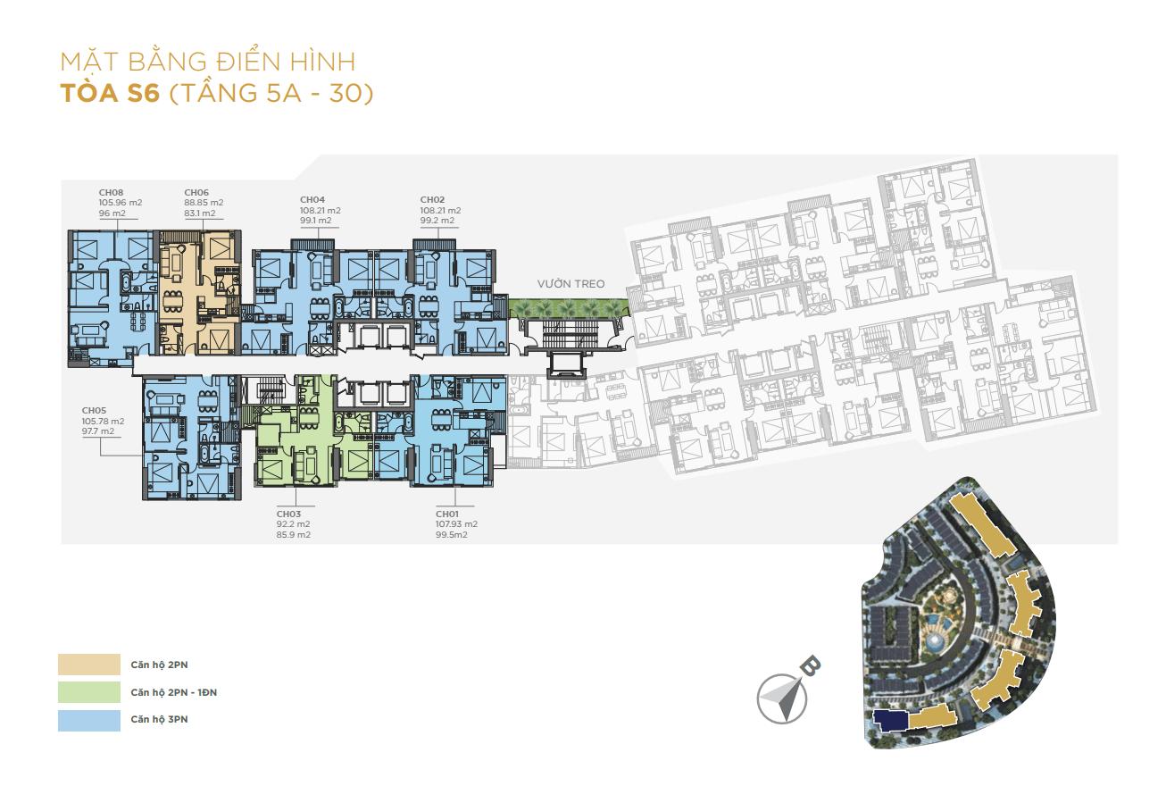 Mặt bằng điển hình Tòa S6 chung cư sunshine city ciputra
