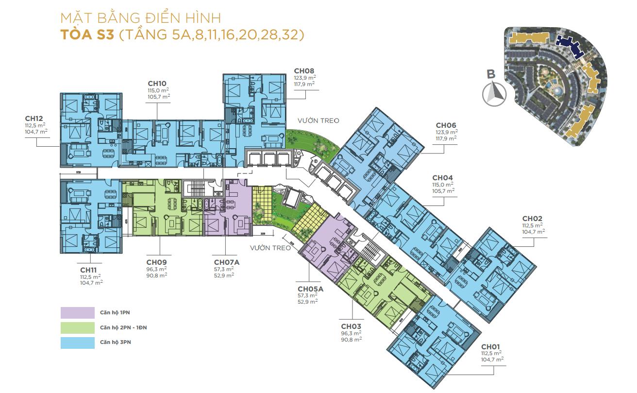 Mặt bằng điển hình Tòa S3 chung cư sunshine city ciputra