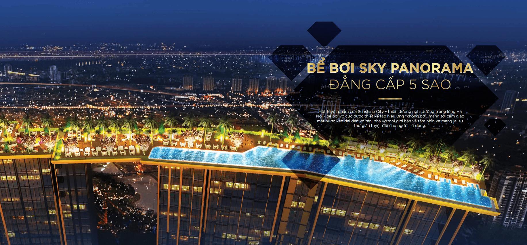 Bể bơi Sky Panorama 5 Sao chung cư sunshine city ciputra