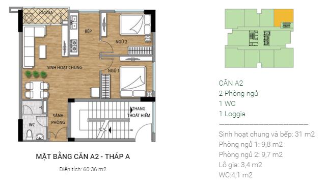 Thiết kế căn hộ A2 Tháp A