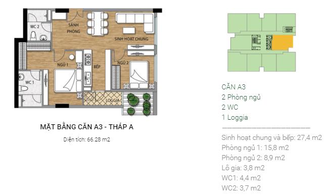 Thiết kế căn hộ A3 Tháp A