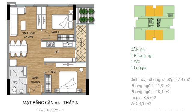 Thiết kế căn hộ A4 Tháp A