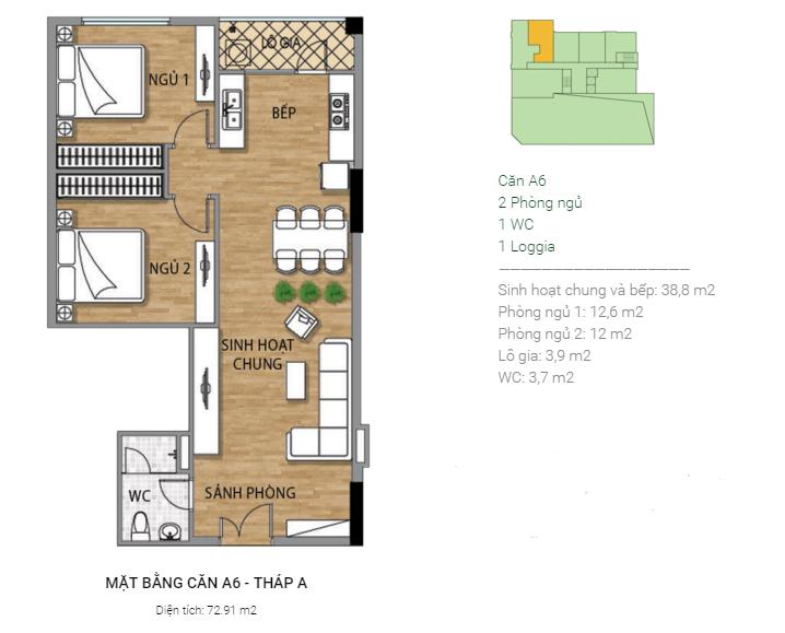 Thiết kế căn hộ A6 Tháp A