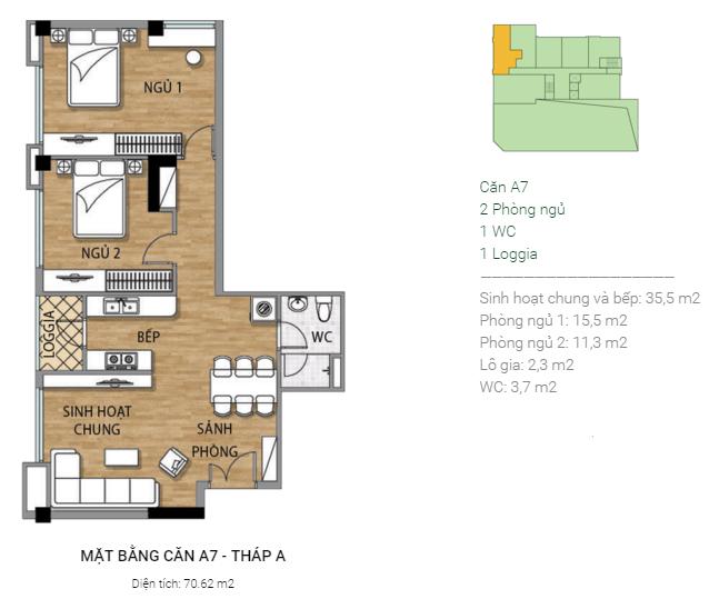 Thiết kế căn hộ A7 Tháp A