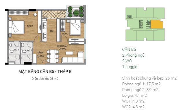 Thiết kế căn B5 tháp B