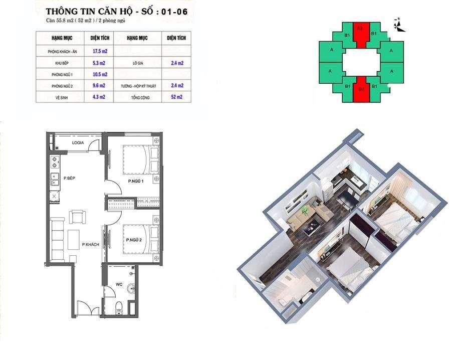 Thiết kế căn hộ 52 m2 tòa M2