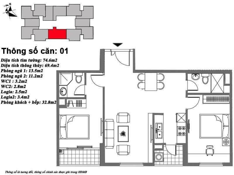 Thiết kế căn hộ 69 m2 tòa M6