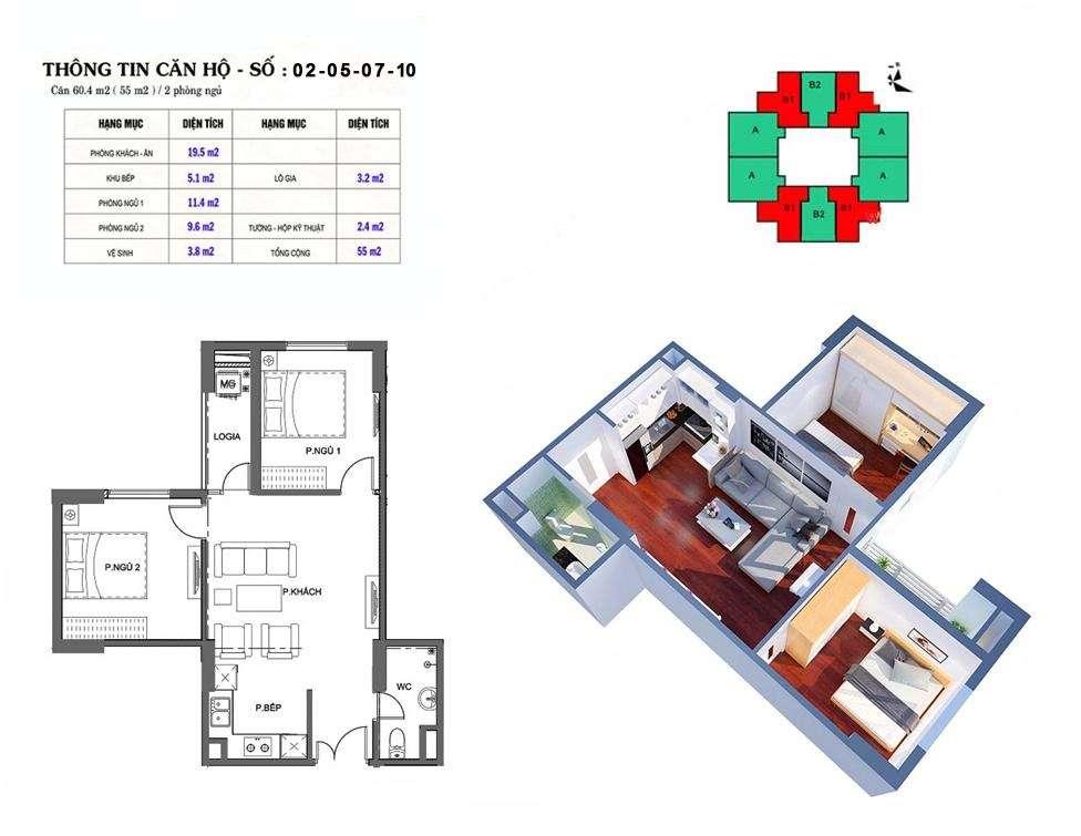 Thiết kế căn hộ 55 m2 tòa M2