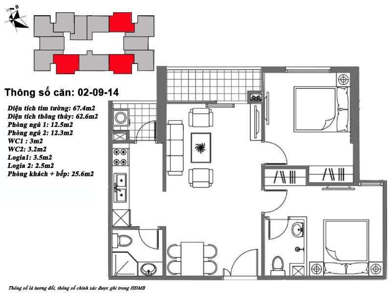 Thiết kế căn hộ 63 m2 tòa M6
