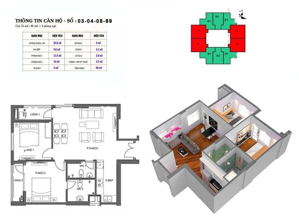 Thiết kế căn hộ 69 m2 tòa M2