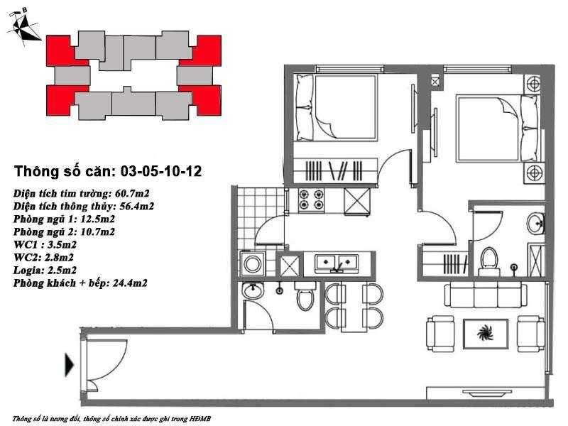 Thiết kế căn hộ 56 m2 tòa M6