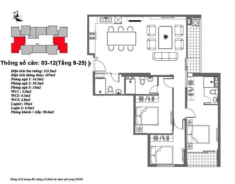 Thiết kế căn hộ 107 m2 tòa M6