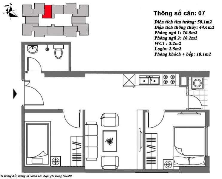 Thiết kế căn hộ 45 m2 tòa M6