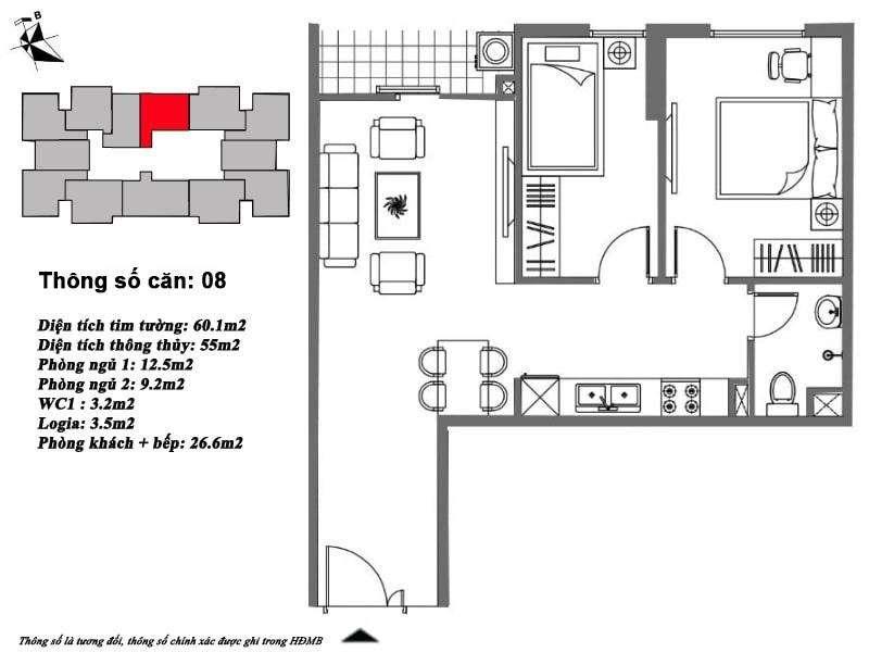Thiết kế căn hộ 55 m2 tòa M6