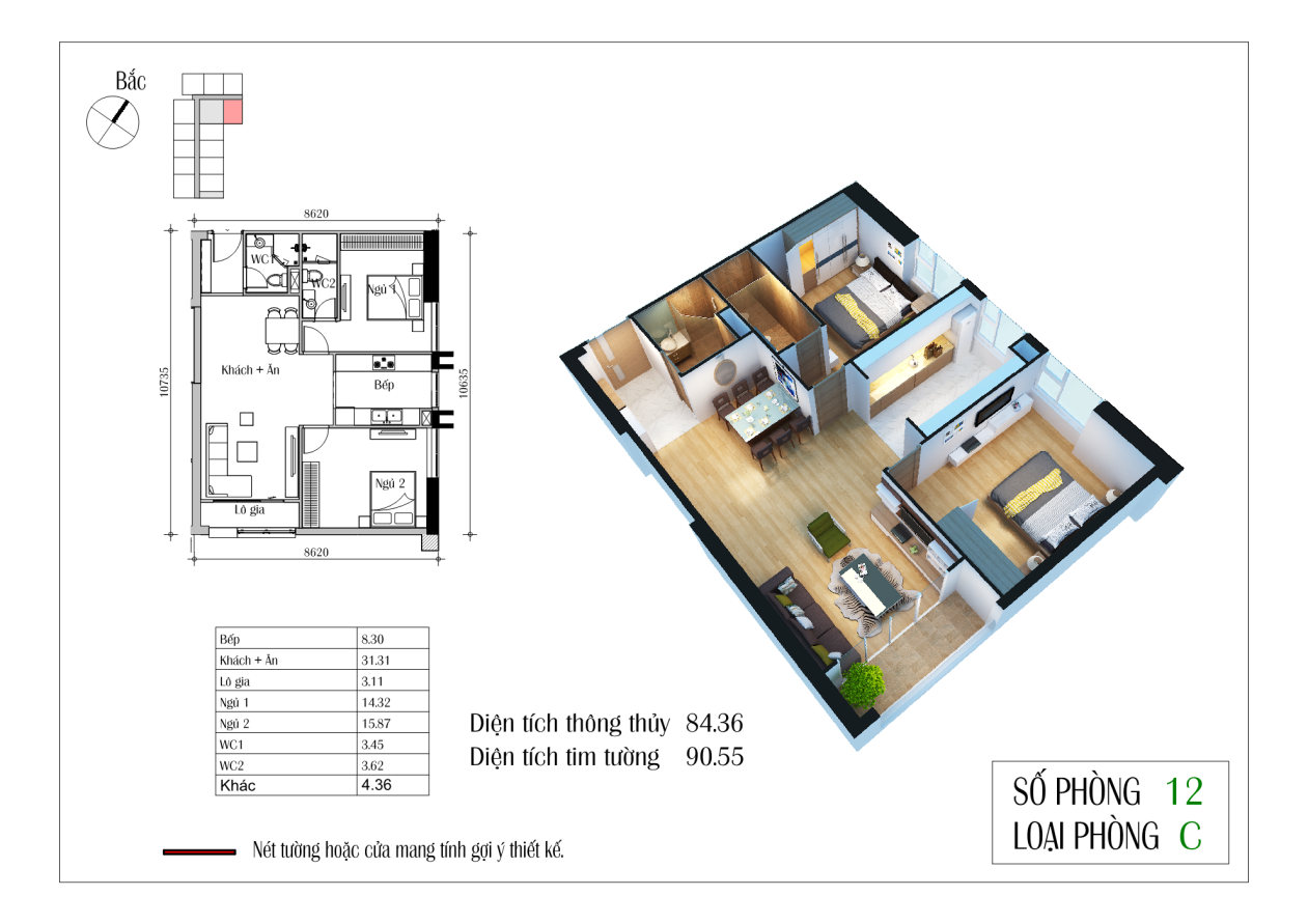 Thiết kế căn C 84,36 m2