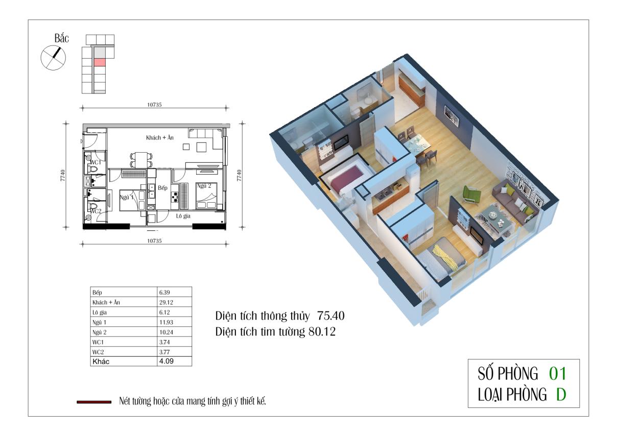 Thiết kế căn D 75,4 m2 chung cư Eco Green City