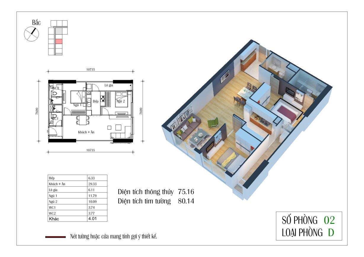 Thiết kế căn D 75,16 m2 chung cư Eco Green City